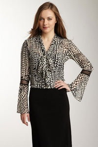 Lace Sleeve Scarf Shirt - Black / White Pebble