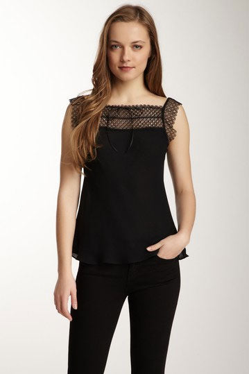 Scalloped Austrian Lace Top - Black