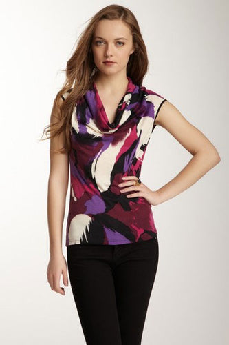 Cawl Neck Top - Plum Print