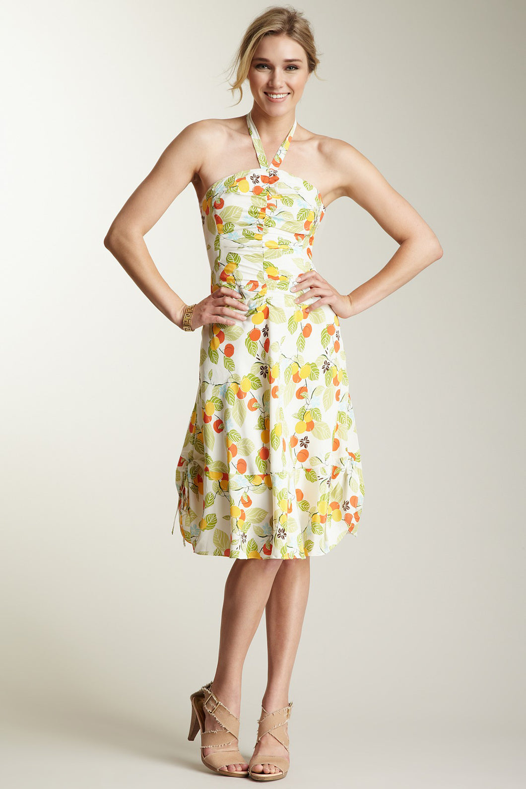 Silk Rouched Strapless Dress - Fruit Print