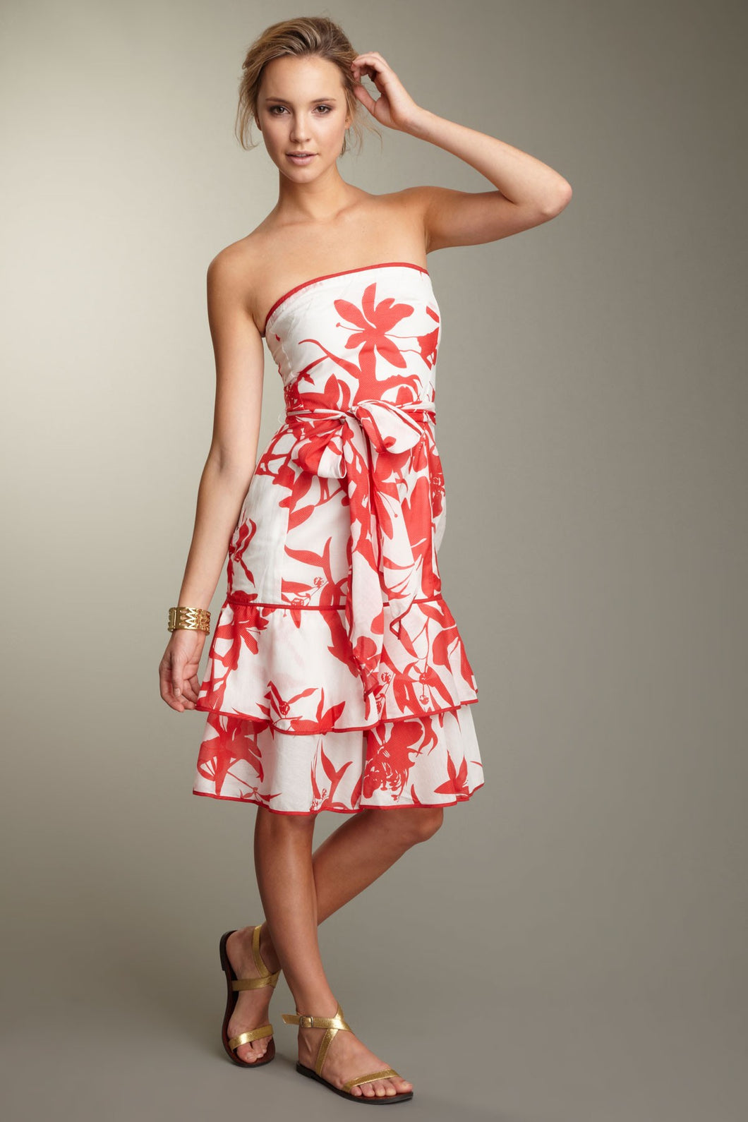 Silk Voile Strapless Dress - Red Print