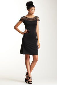 Scalloped Austrian Lace Dress - Black