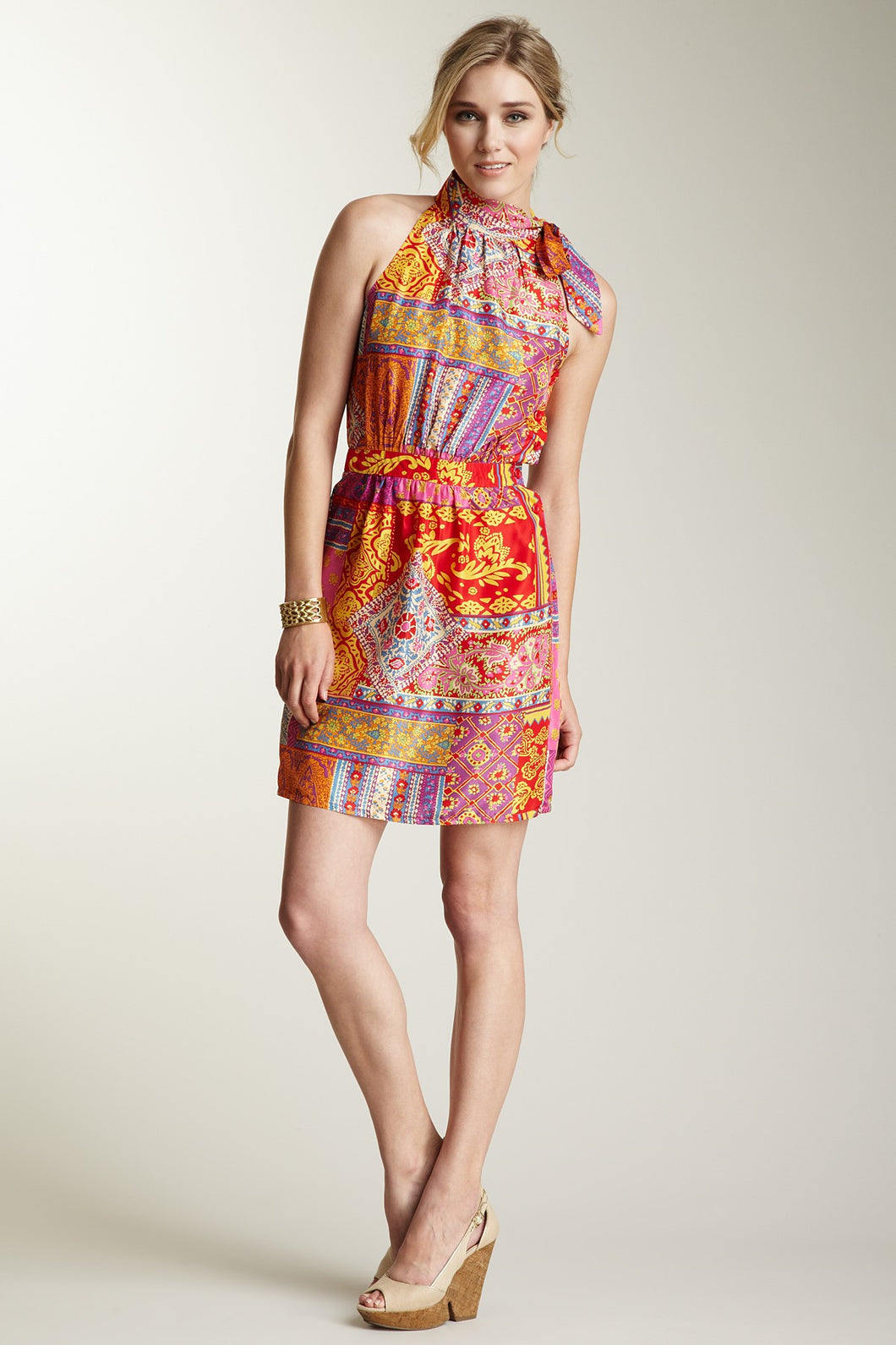 Silk Tie Halter Blousson Dress - Gypsy Red Print