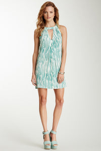 Box Pleated Dress - Green Drizzle