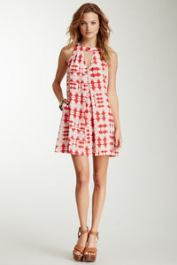 Box Pleated Dress - White-Red Brush Stroke