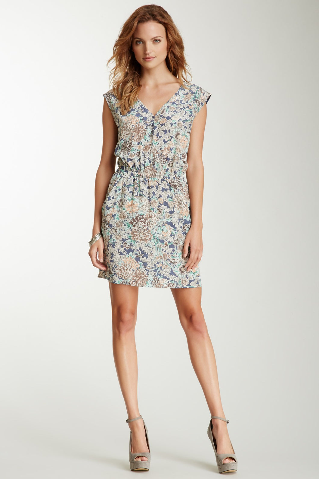 V-Neck Silk Dress - Blue Botanical Print