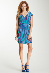 V-Neck Silk Dress - Blue Off-set Stripe