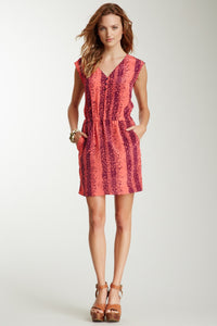 V-Neck Silk Dress - Plum Popcorn Stripe Print