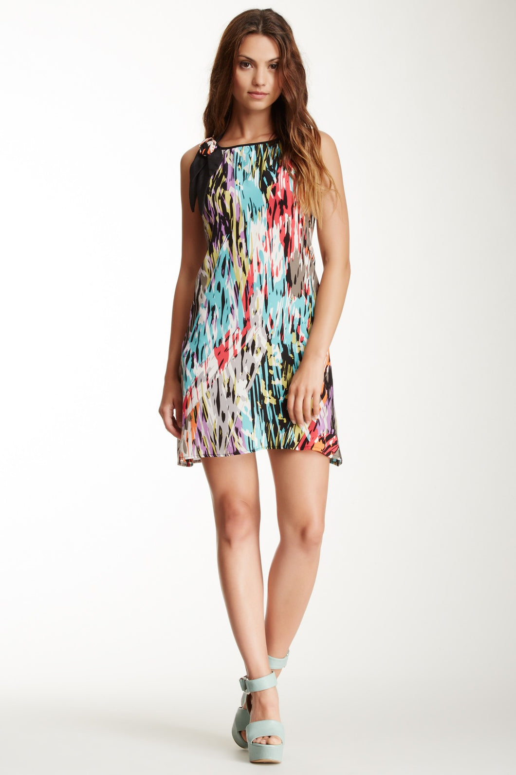 Silk Dress With Flower - Multi Purple Black
