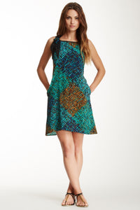 Silk Dress With Flower - Green/Black Print
