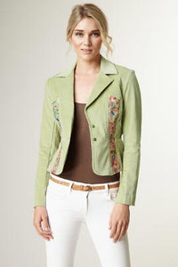 Embroidered Stretch Velveteen Cropped Jacket - Jade
