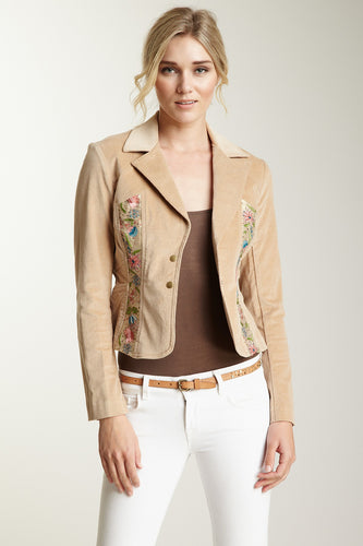 Embroidered Stretch Velveteen Cropped Jacket - Sand