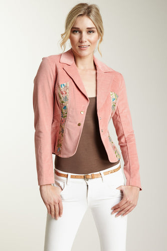 Embroidered Stretch Velveteen Cropped Jacket - Blush