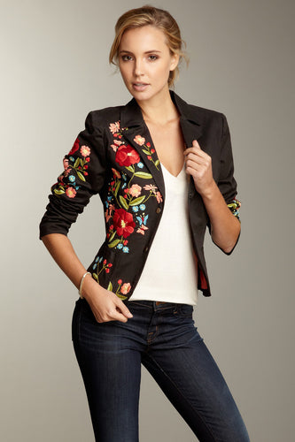 Hand Embroidered Brushed Twill Blazer - Black