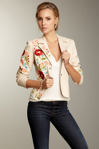 Hand Embroidered Brushed Twill Blazer - Oat