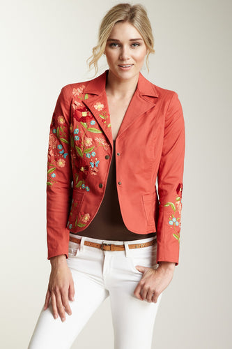 Hand Embroidered Brushed Twill Blazer - Melon