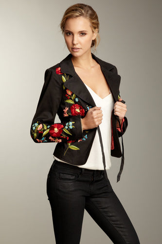 Hand Embroidered Brushed Twill Tie Jacket - Black