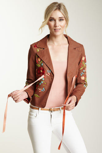 Hand Embroidered Brushed Twill Tie Jacket - Nutmeg