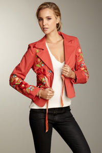 Hand Embroidered Brushed Twill Tie Jacket - Melon