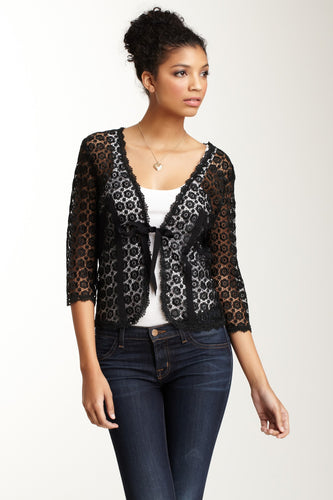 Guipure Lace Tie Jacket - Black