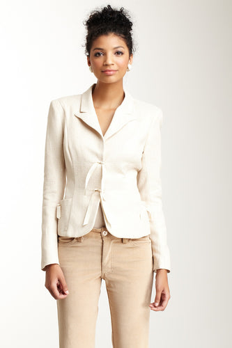 Brocade Blazer - Cream Pebble