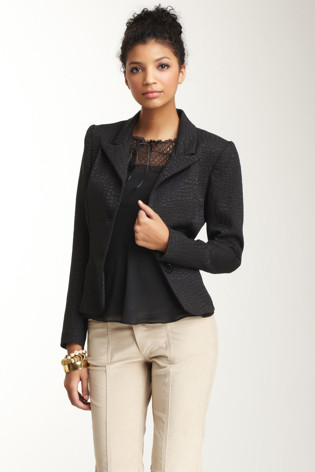 Brocade Blazer - Black Cloque