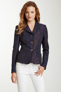 Brocade Blazer - Navy / Bronze