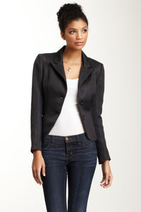 Brocade Blazer - Black Basket Weave
