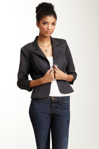 Brocade Cropped Blazer - Black Lurex
