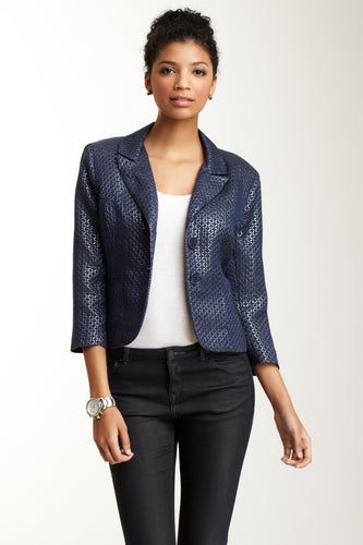 Brocade Cropped Blazer - Navy Lurex