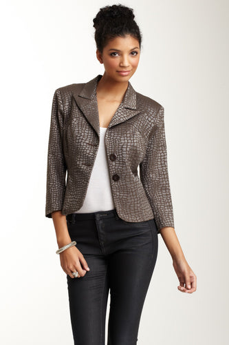 Brocade Cropped Blazer - Military Leopard