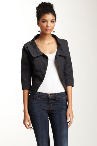 Jackie O Jacket - Black Oval Cloque