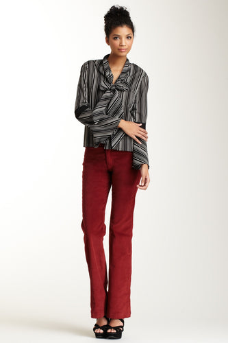 Wide Leg Stretch Corduroy Pants - Pomegranite