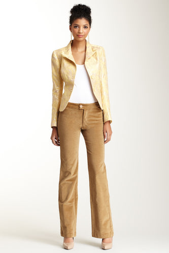 Wide Leg Stretch Corduroy Pants - Camel