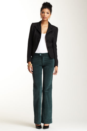 Wide Leg Stretch Corduroy Pants - Teal