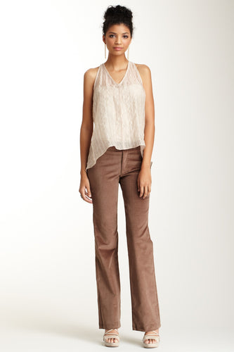 Wide Leg Stretch Corduroy Pants - Mushroom