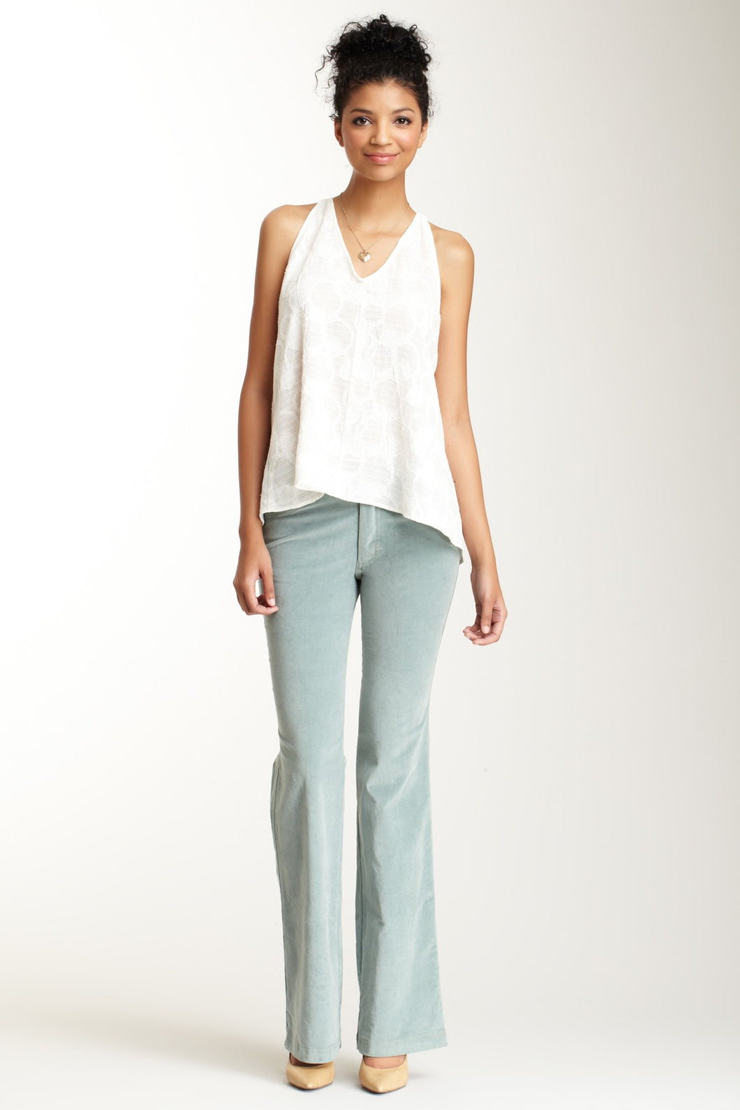 Stretch Velveteen 4-Pocket Jeans - Lagoon