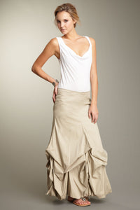 Stretch Poplin Balloon Skirt - Khaki