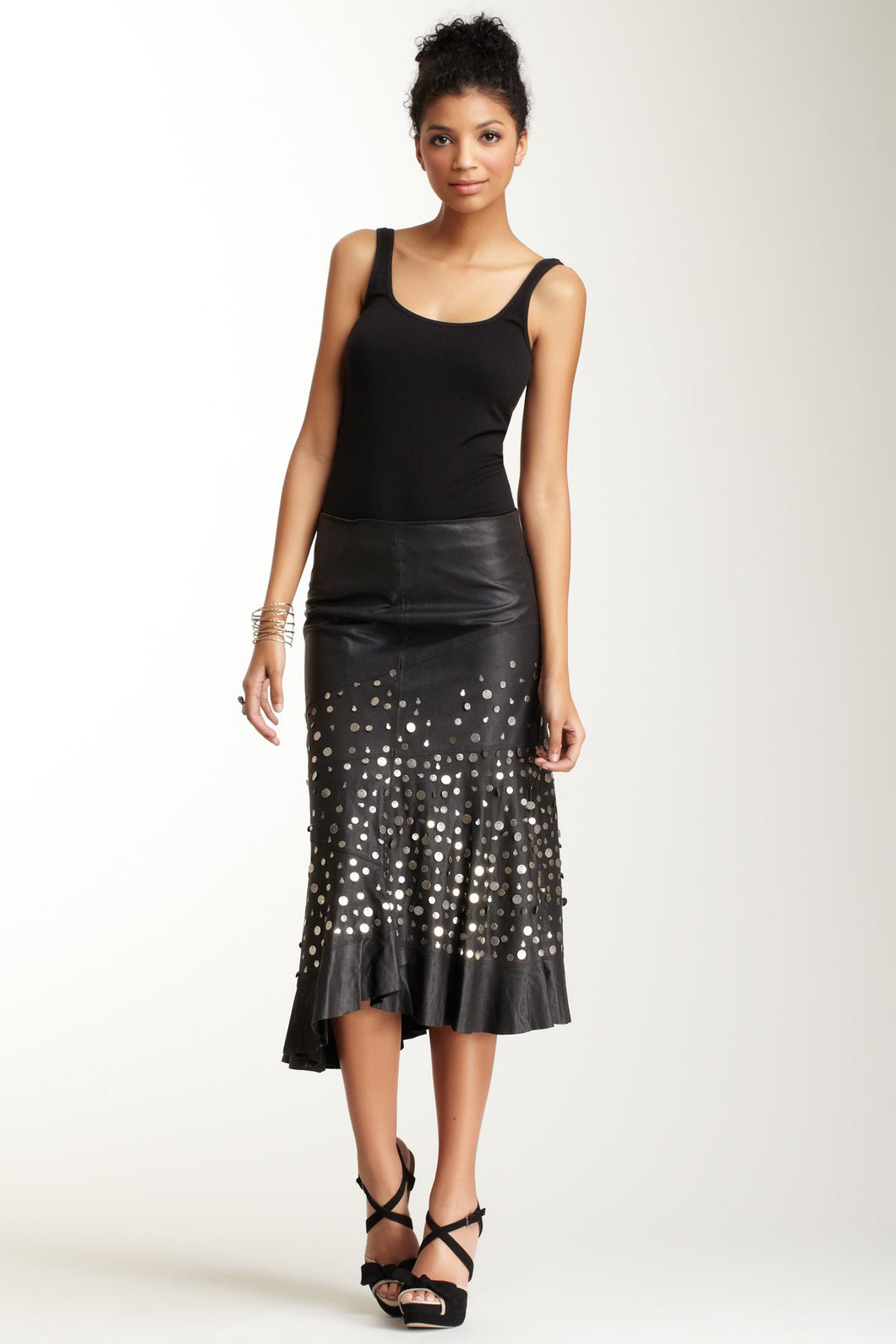 Antiqued Goat Leather Tango Skirt - Black