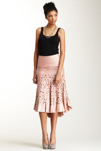 Antiqued Goat Leather Tango Skirt - Blush Pink