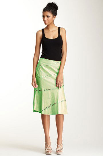 Antiqued Goat Leather Swirly Skirt - Mint