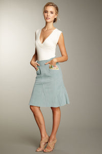 Embroidered Stretch Velveteen Tulip Skirt - Lagoon