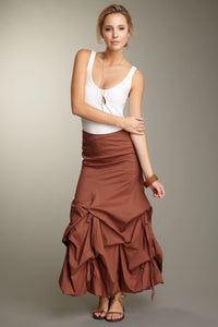 Stretch Poplin Balloon Skirt - Brown