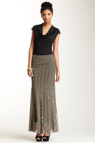 Long Stripe Swirly Skirt - Black and Nude Stripe