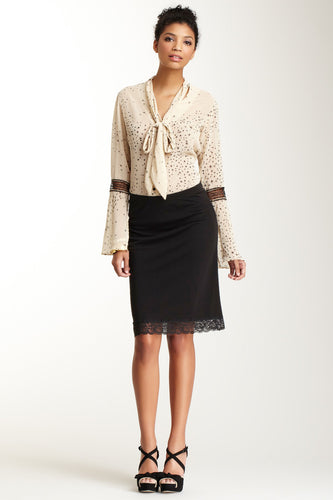 Lined Matte Jersey Skirt with Lace Trim - Black