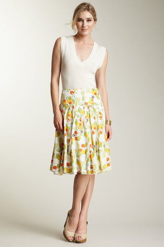 Silk Ruffle Insert Skirt - Fruit Print