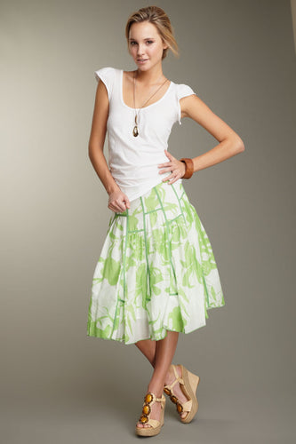 Silk Voile Ruffled Insert Skirt - Green Print