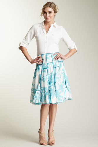 Silk Voile Ruffled Insert Skirt - Blue Print