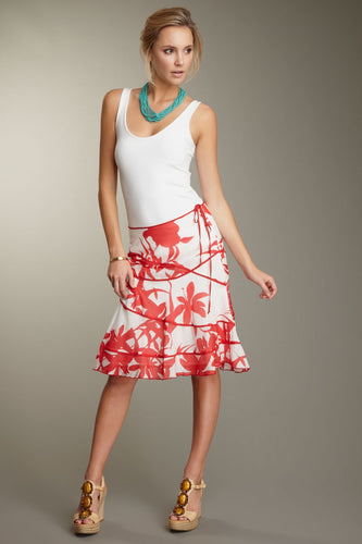 Silk Voile Swirly Skirt - Red Print