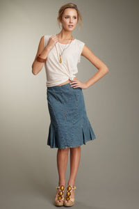 Stretch Denim Pleated Skirt - Blue Denim